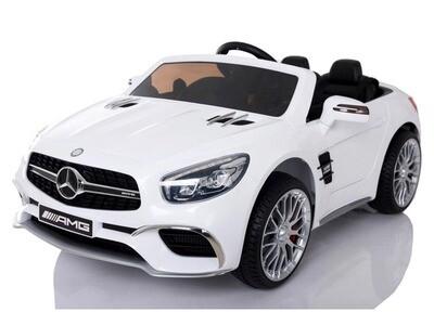 SL65 blanc 120 cm CUIR EVA Voiture électrique enfants Mercedes