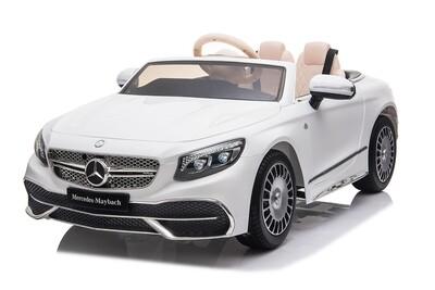 S650 blanc 124 cm cuir EVA Voiture électrique enfants Mercedes 12V