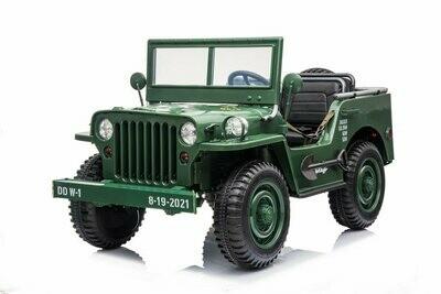 Jeep Willys 162 cm vert 160W 12V cuir EVA voiture électrique enfant 1 à 5 ans