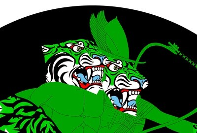 Greek Tiger Double Head Green / 100 cm X 100 cm / Fine art print