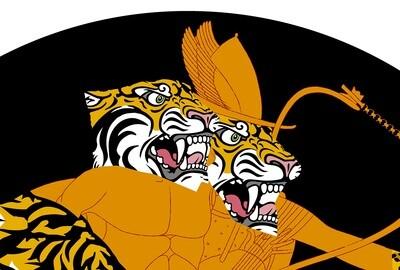 Greek Tiger Double Head Orange / 100 cm X 100 cm / Fine art print