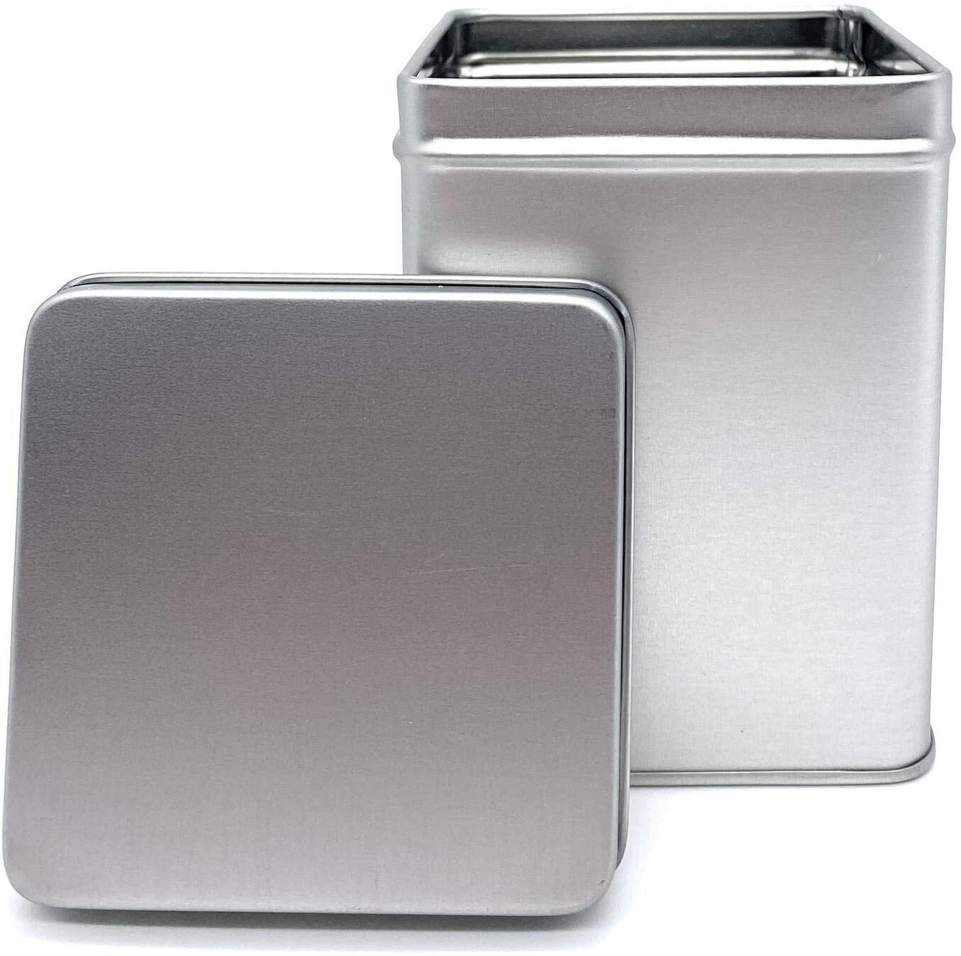 BOITE A THÉ ou CAFÉ en métal argenté