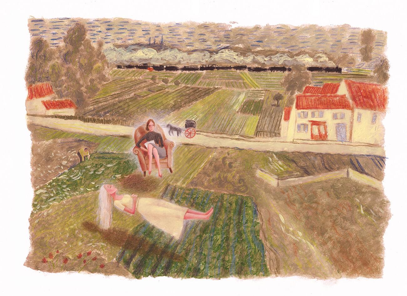 Woman in a Van Gogh landscape