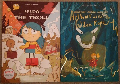 Comics bargain bundle: Hilda and the Troll and Arthur and the Golden Rope (some marks on covers)