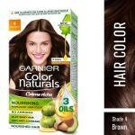 Garnier Color Naturals Creme Riche Ammonia Free Permanent Hair Color, Brown (4) (70 ml + 60 g)