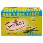 Santoor Aloe Fresh Soap 125 g (Buy 4 Get 1 Free)