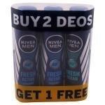 Nivea Men Fresh Active Deodorant 150 ml (Buy 2 Get 1 Free)