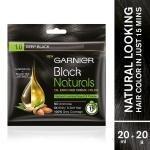Garnier Black Naturals Ammonia Free Hair Colour, Deep Black (1) (20 ml + 20 g)