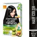 Garnier Color Naturals Creme Riche Ammonia Free Hair Color, Natural Black (1) (70 ml + 60 g)