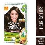 Garnier Color Naturals Creme Riche Ammonia Free Hair Color, Darkest Brown (3) (70 ml + 60 g)