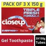 Closeup Everfresh Red Hot Gel Toothpaste 150 g (Pack of 3)