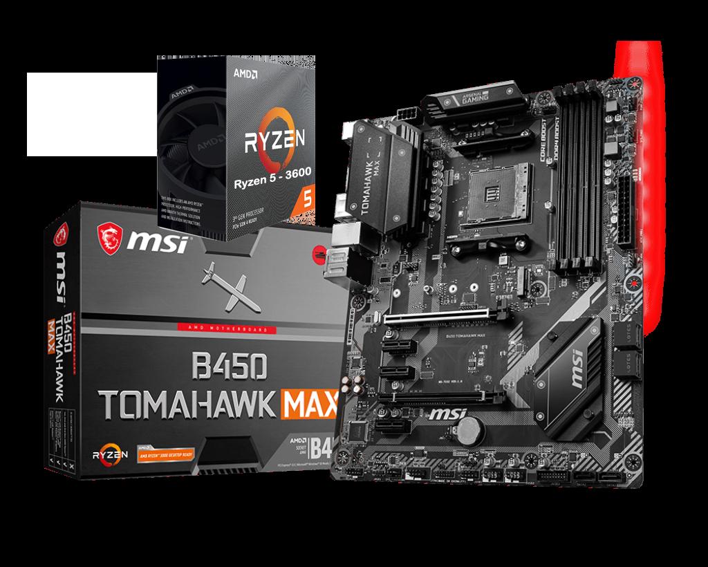 AMD RYZEN 5 3600 6-Core 3.6 GHz (4.2 GHz Max Boost) + MSI B450 TOMAHAWK MAX Motherboard Bundle