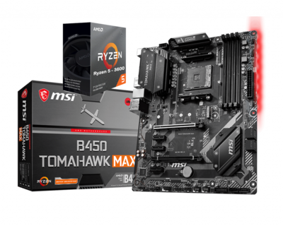 AMD RYZEN 5 3600 6-Core 3.6 GHz (4.2 GHz Max Boost) + MSI B450 TOMAHAWK MAX Motherboard Bundle