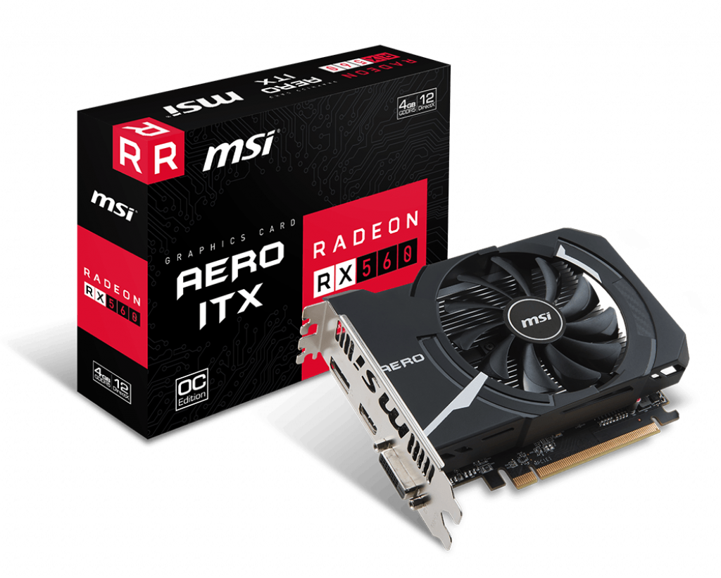 MSI Radeon RX 560 AERO ITX 4GB OC GDDR5 Video Card ( REQUIRES COMPLETE DESKTOP BUILD )