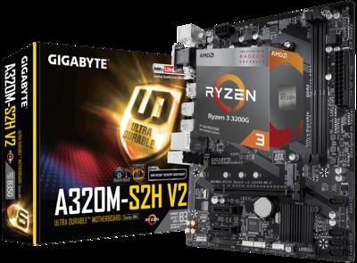 AMD RYZEN 3 3200G 4-Core 3.6 GHz (4.0 GHz Max Boost) + GIGABYTE GA-A320M-S2H V2 Motherboard Bundle