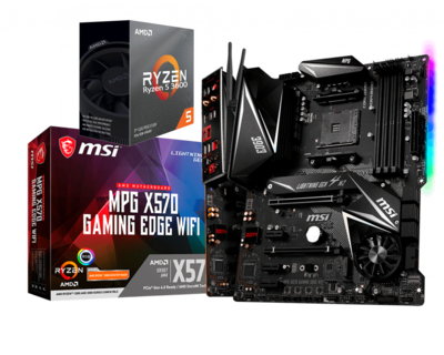 AMD RYZEN 5 3600 6-Core 3.6 GHz (4.2 GHz Max Boost) + MSI MPG X570 Gaming Edge WiFi Gaming Motherboard Bundle