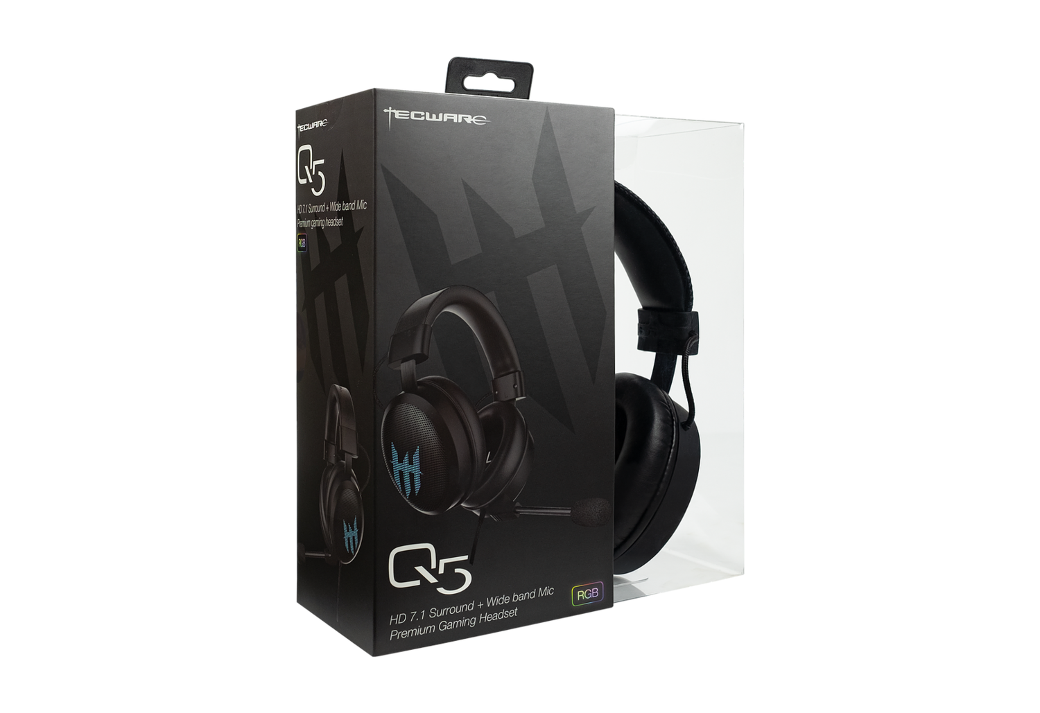 TECWARE Q5 7.1 SURROUND PREMIUM GAMING HEADSET | 7.1 SURROUND ENHANCEMENT | 5-BAND CUSTOM EQUALIZER SETTINGS | WIDEBAND MIC + GAIN CONTROL | RGB ILLUMNIATION