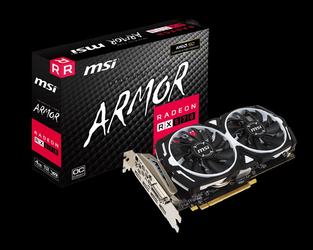 MSI ARMOR RX 570 4GB GDDR5 256-bit Video Card