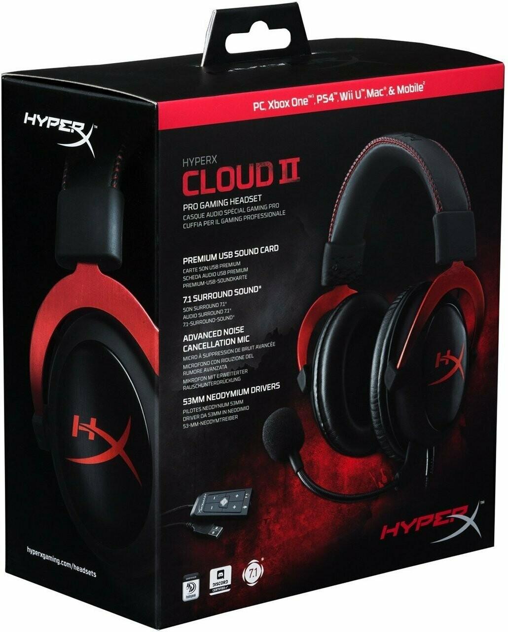 HyperX Cloud II Gaming Headset - 7.1 Surround Sound - Memory Foam Ear Pads - Durable Aluminum Frame - Multi Platform Headset