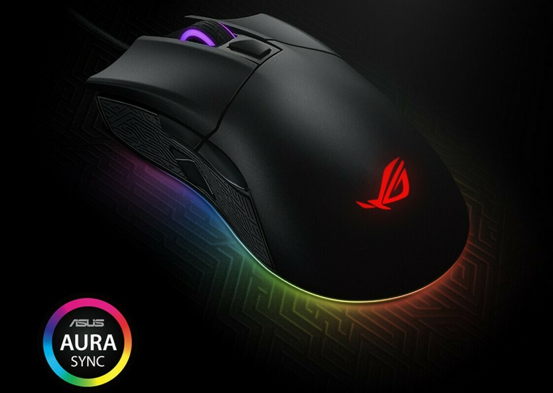 ASUS ROG Gladius II Aura Sync USB Wired Optical Ergonomic Gaming Mouse with DPI Target Button (12000 DPI)