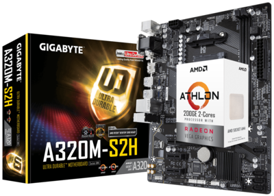 AMD Athlon 200GE 2-Cores 4-Threads 3.2 GHz + GIGABYTE GA-A320M-S2H Motherboard Bundle