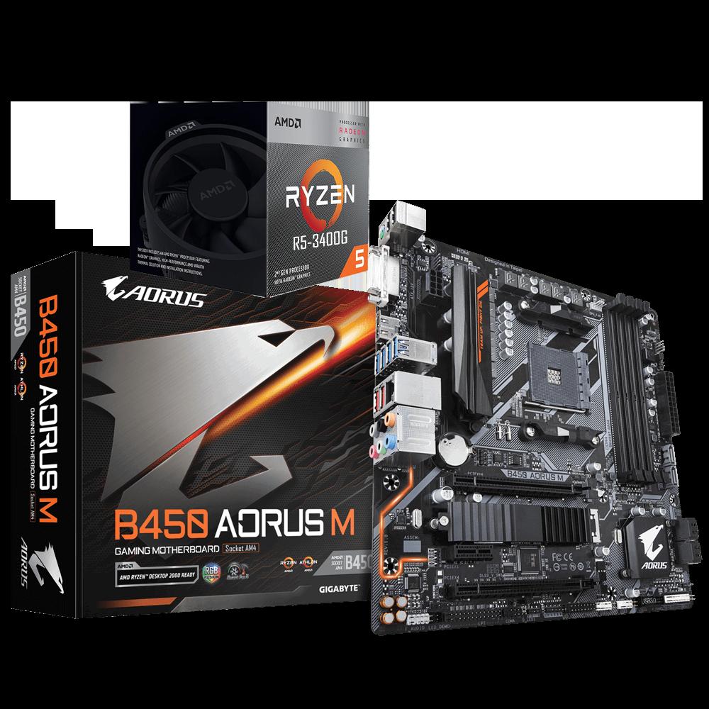 AMD RYZEN 5 3400G 4-Core 3.7 GHz (4.2 GHz Max Boost) + AORUS B450M Motherboard Bundle