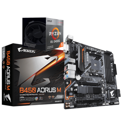 AMD RYZEN 5 3400G 4-Core 3.7 GHz (4.2 GHz Max Boost) + AORUS B450M Motherboard Bundle