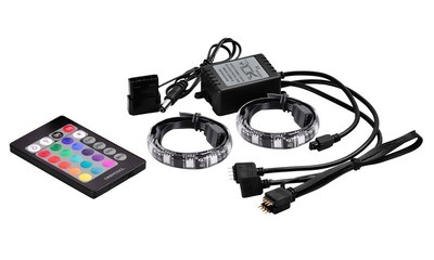 Deepcool RGB-350 LED Strips with Remote, Long life (100,000 hours) ultra-bright LED with 3 primary colors, Deep Cool with 2pcs LED Light Desktop PC RGB strips (with 200mm cable), Magnet-mounting .