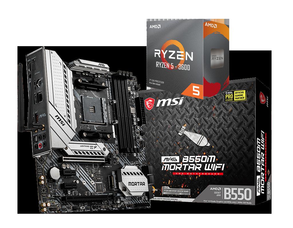 AMD RYZEN 5 3600 6-Core 3.6 GHz (4.2 GHz Max Boost) + MSI B550M Mortar WIFI Motherboard Bundle