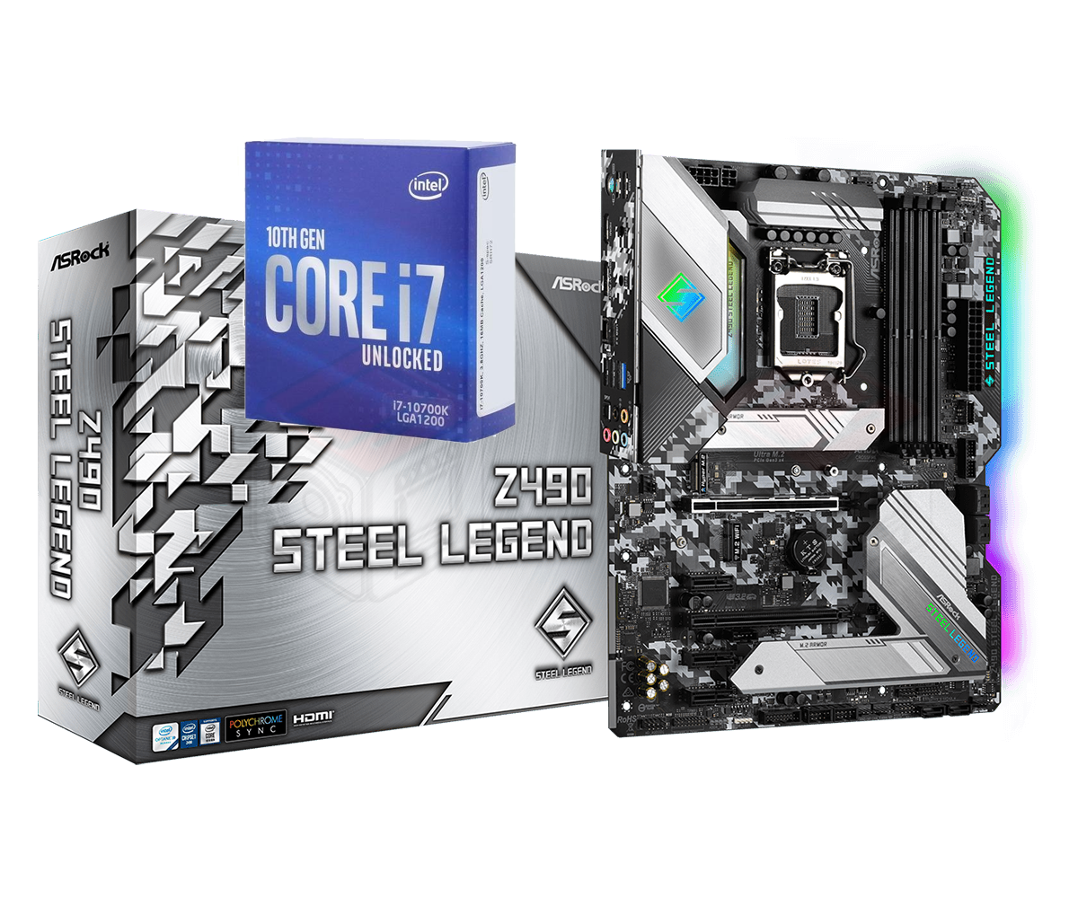 Intel Core i7-10700K Processor 8 Cores up to 5.1 GHz Unlocked + ASRock Z490 Steel Legend Motherboard Bundle