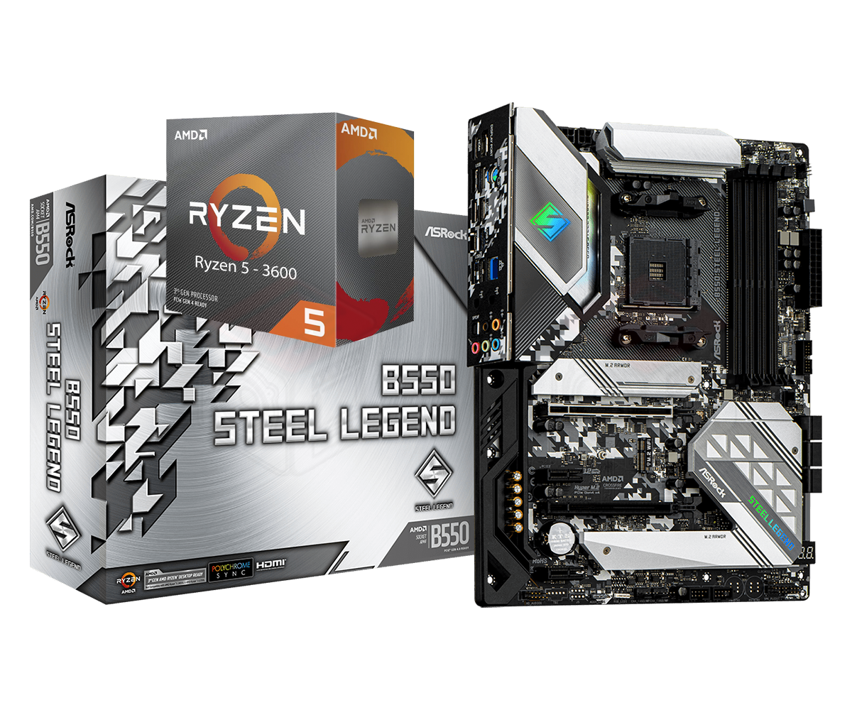 AMD RYZEN 5 3600 6-Core 3.6 GHz (4.2 GHz Max Boost) + ASRock B550 Steel Legend Motherboard Bundle