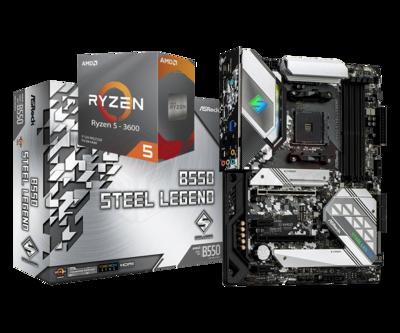AMD RYZEN 5 3600 6-Core 3.6 GHz (4.2 GHz Max Boost) + ASRock B550 Steel Legend Motherboard Bundle