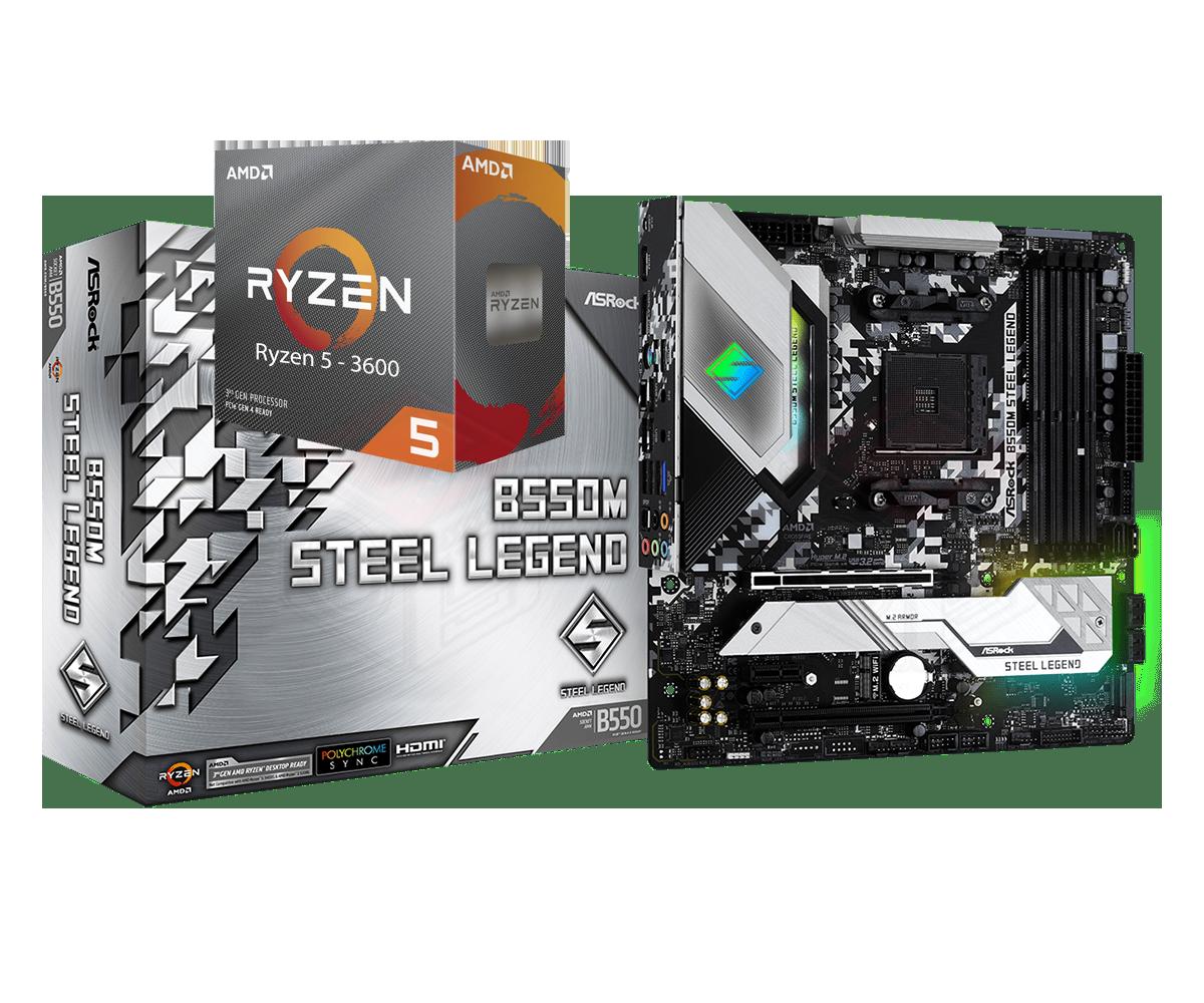 AMD RYZEN 5 3600 6-Core 3.6 GHz (4.2 GHz Max Boost) + ASRock B550M Steel Legend Motherboard Bundle