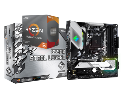 AMD RYZEN 5 3600 6-Core 3.6 GHz (4.2 GHz Max Boost) + ASRock B550M Steel Legend Motherboard Bundle