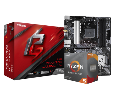 AMD RYZEN 5 3600 6-Core 3.6 GHz (4.2 GHz Max Boost) + ASRock B550 Phantom Gaming 4/AC Motherboard Bundle