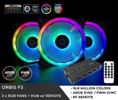 Tecware Orbis F3 ARGB FAN (3X120MM) 10PORT HUB + CONTROLLER