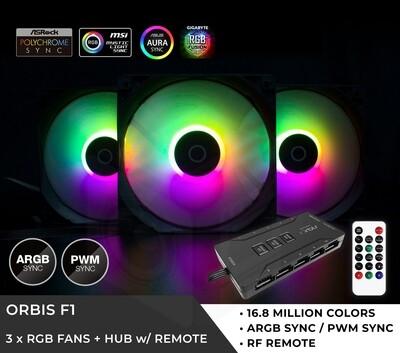 Tecware Orbis F1 ARGB FAN (3X120MM) 10PORT HUB + CONTROLLER