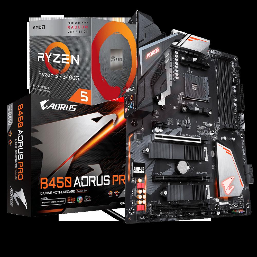 AMD RYZEN 5 3400G 4-Core 3.7 GHz (4.2 GHz Max Boost) + AORUS B450 Pro Motherboard Bundle