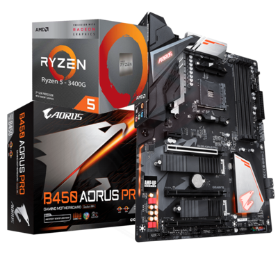AMD RYZEN 5 3400G 4-Core 3.7 GHz (4.2 GHz Max Boost) + AORUS B450 Pro Motherboard Bundle