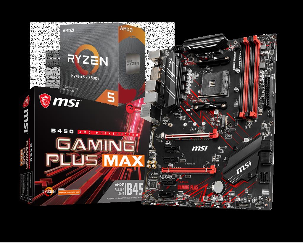 AMD RYZEN 5 3500X 6-Core 3.6 GHz (4.1 GHz Max Boost) + MSI B450 Gaming Plus Max Motherboard Bundle