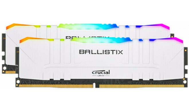 Crucial Ballistix RGB 16GB (8GB x2) 3200 MHz CL15 DDR4 RAM, Gaming Memory Kit, White