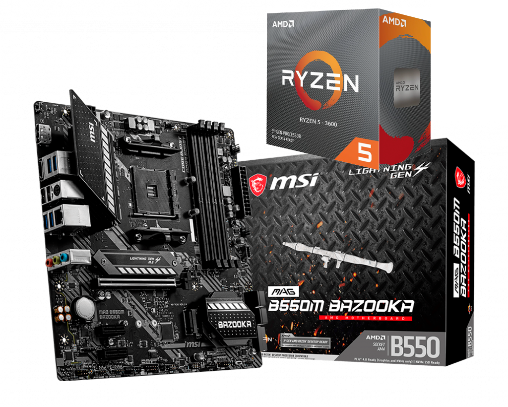AMD RYZEN 5 3600 6-Core 3.6 GHz (4.2 GHz Max Boost) + MSI B550M BAZ00KA Motherboard Bundle