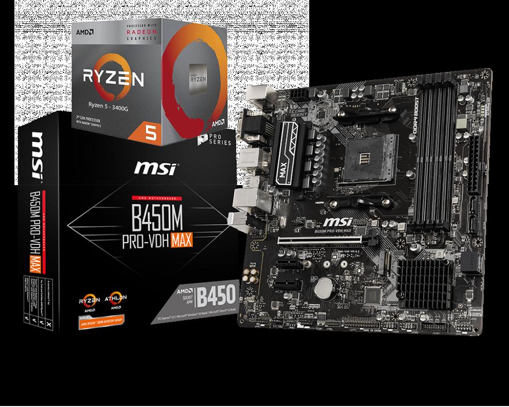 AMD RYZEN 5 3400G 4-Core 3.7 GHz (4.2 GHz Max Boost) + MSI B450 PRO VDH MAX Motherboard Bundle