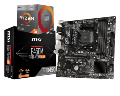AMD RYZEN 5 3400G 4-Core 3.7 GHz (4.2 GHz Max Boost) + MSI B450 PRO VDH MAX Motherboard Bundle