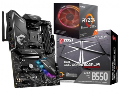 AMD RYZEN 7 3800X 8-Core 3.9 GHz (4.5 GHz Max Boost) + MSI MPG B550 Gaming Edge Wifi Motherboard Bundle