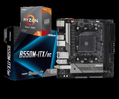 AMD RYZEN 5 3600XT 6-Core 3.8 GHz (4.5 GHz Max Boost) + ASRock B550M-ITX AC Motherboard Bundle