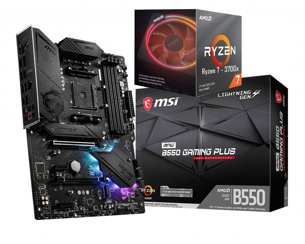 AMD RYZEN 7 3700X 8-Core 3.6 GHz (4.4 GHz Max Boost) + MSI MPG B550 Gaming Plus Motherboard Bundle