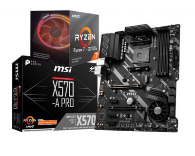 AMD RYZEN 7 3700X 8-Core 3.6 GHz (4.4 GHz Max Boost) + MSI X570A Pro Motherboard Bundle