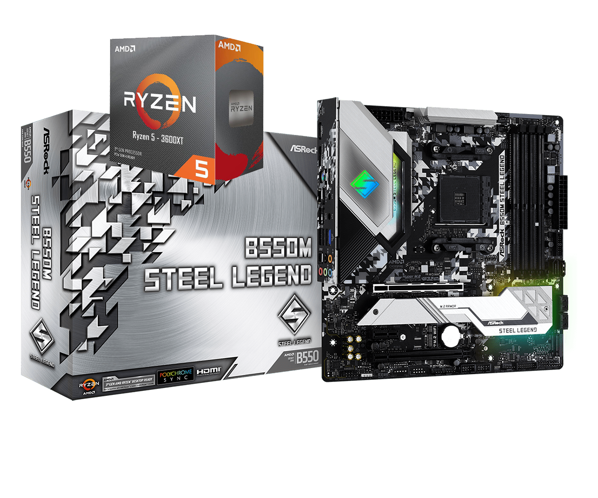 AMD RYZEN 5 3600XT 6-Core 3.8 GHz (4.5 GHz Max Boost) + ASRock B550M Steel Legend Motherboard Bundle