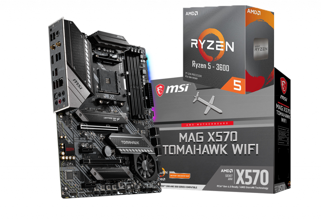 AMD RYZEN 5 3600 6-Core 3.6 GHz (4.2 GHz Max Boost) + MSI MAG X570 Tomahawk Wifi Motherboard Bundle